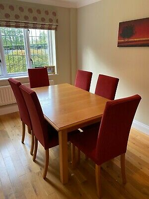 £72 • Buy M&S Oak Dining Room Table & 6 Red Chenille Chairs, Extends To 8,great Condition