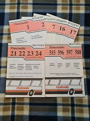 £3 • Buy Clydeside Western Scottish Bus Timetable Leaflets – Glasgow (1990) X6