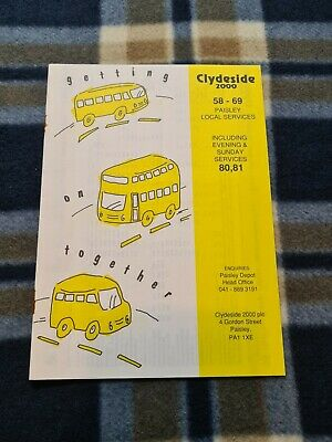 £2 • Buy Clydeside 2000 Scottish Bus Timetable Leaflet – Paisley Local Services (1990s)