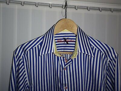 £39 • Buy Mens Robert Graham Blue Striped Shirt With Vgc Size Large
