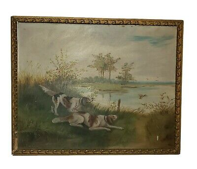 £180.45 • Buy Antique Nice Hunting Dogs Oil On Board Framed Painting  Signed , 1903