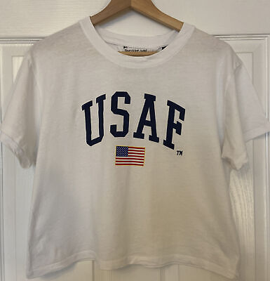 £2.99 • Buy Topshop Tee And Cake White T Shirt Top With Usaf Us Air Force Logo Print Size 14