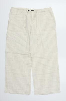 £6 • Buy Atmosphere Womens Beige Striped  Trousers  Size 12 L26 In