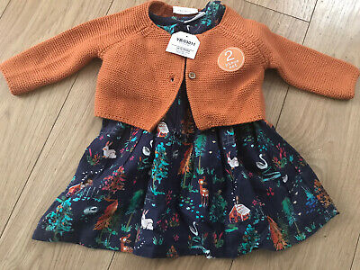 £12.95 • Buy BNWT Next Baby Girl Long Sleeve Dress And Cardigan Set Up To 3 Months
