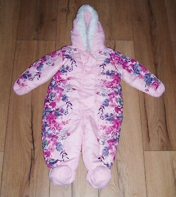 £4.99 • Buy Snowsuit Pram Suit Baby Winter All In One Age 9-12 Months Girls Pink Floral