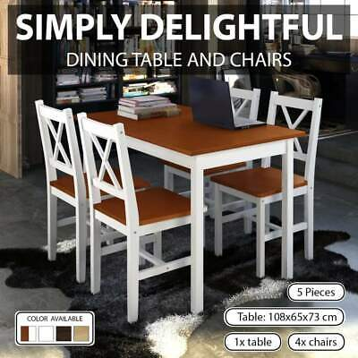 AU315.99 • Buy VidaXL Wooden Dining Set 5 Pieces Kitchen Furniture Table Chairs Multi Colours