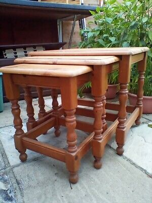 £60 • Buy Solid Pine Wood Nest Of Tables.