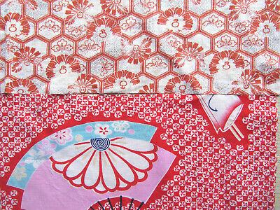 £0.50 • Buy 3 Pieces Japanese Kimono Cotton Fabrics From Japan - Fan Red, Floral Vermilion