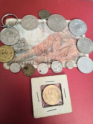 £4 • Buy Coins Joblot Vintage Modern Foreign British Key Ring Token Charms - French Note