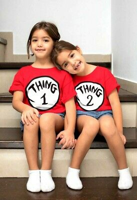 £5.99 • Buy Thing One 1 And Thing Two 2 T-Shirt Couples Funny Costume World Book Day Tshirt