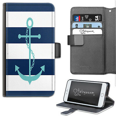 AU27.12 • Buy Navy Blue And White Stripe Anchor PU Leather Wallet Phone Case, Flip Case