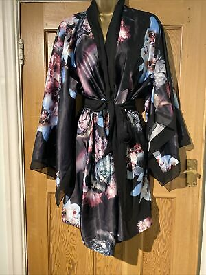 AU82.74 • Buy B By Ted Baker Dressing Gown Robe Size 16-18 Floral Silk Feel Belted