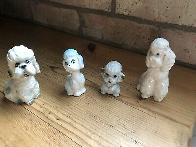 £12.50 • Buy 4x Vintage Cute Poodle Figurines Collectable White Dog Ornaments