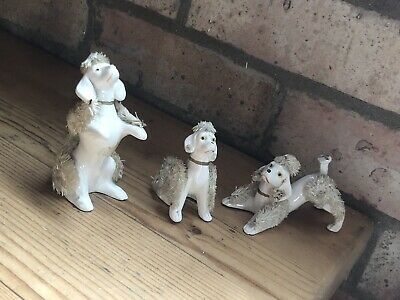 £12 • Buy Vintage 3x Beautiful Poodle  Figurines/collectable Cute  Dogs Ornaments Japan