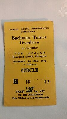 £15 • Buy Bachman Turner Overdrive Concert Ticket Stub Glasgow Apollo Thursday 1st May 197
