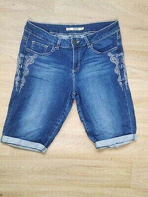 £0.99 • Buy Dorothy Perkins Size 14 Dark  Denim Stretch Long Shorts Embroidered Casual