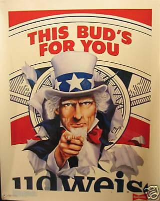 $ CDN24.87 • Buy 1986 Uncle Sam Budweiser Beer Store Sign Old Stock