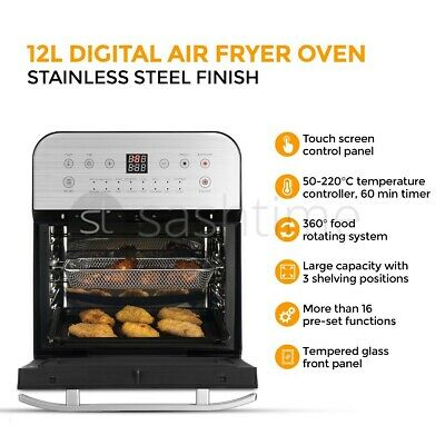 View Details 12L Digital Air Fryer Oven Low Fat Healthy Cooker Oil Free Fry Rotisserie Chip  • 89.95£
