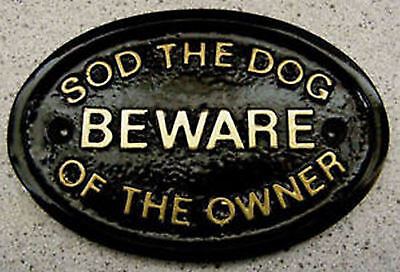 £2.90 • Buy DOG OWNER BEWARE HOUSE DOOR GATE PLAQUE SIGN ( Gold Or Silver Lettering ) NEW