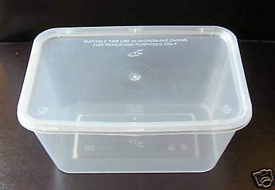 50 X 1000ml FOOD GRADE TAKEAWAY STORAGE CONTAINERS WITH LIDS - C1000 • 13.49£