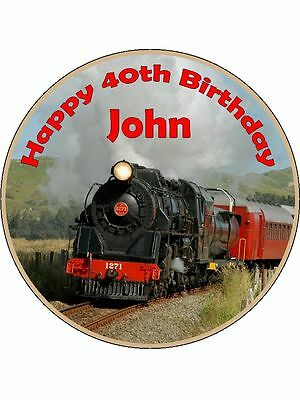 Steam Train Personalised Edible Cake Topper Decoration • 6.45£