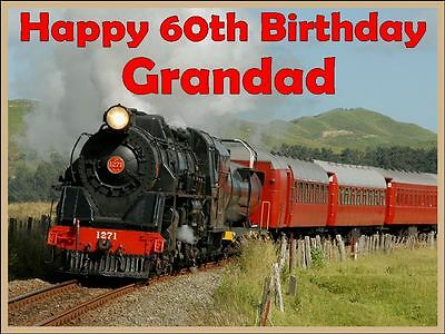 Steam Train Personalised Birthday Cake Topper Decoration • 6.49£