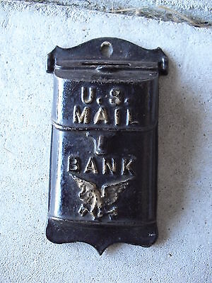 $190 • Buy Antique Cast Iron US Mail Wall Hanging Bank 5 1/8  Tall LOOK