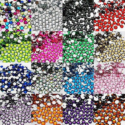 1000 Rhinestones Flat Back Acrylic Gems Acrylic Diamante Bead Nail Decoration • 0.99£