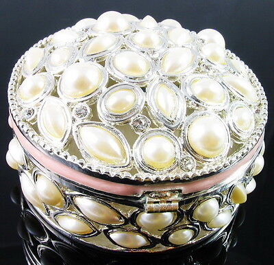 $49.95 • Buy Round White Pearl Rhinestone Jewelry Box Ring Necklace Earring Bracelet Vintage