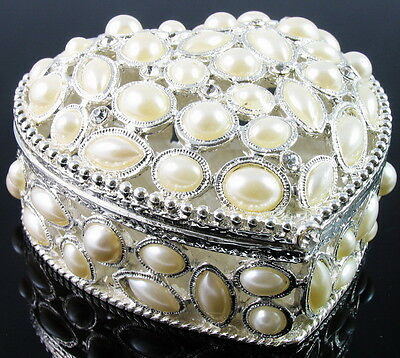 $39.95 • Buy White Pearl Rhinestone Jewelry Box Ring Necklace Earring Bracelet Heart Vintage