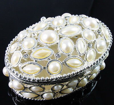 $49.95 • Buy Oval White Pearl Rhinestone Jewelry Box Ring Necklace Earring Bracelet Vintage