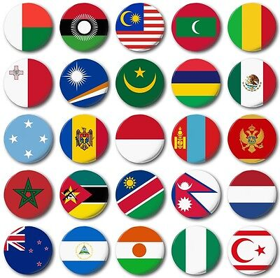 WORLD FLAGS Various 25mm, 1  Inch  Button Badge--, M To N • 0.99£