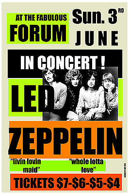 $12 • Buy Led Zeppelin At Los Angeles Forum Concert Poster 1973  12x18