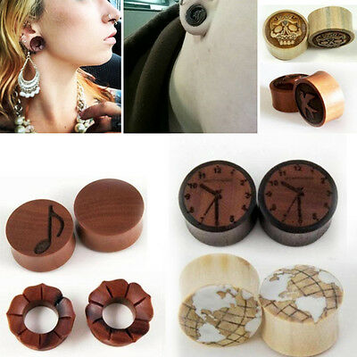 $14.99 • Buy Sono Wood Flared Horn Inlay Gauge Plug Hand Made Organic Floral Carved 8G-1  Set