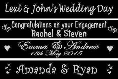 Black Personalised Wedding Engagement Party Banner Reception Venue Decorations • 3.95£