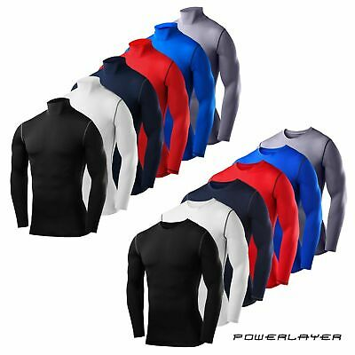 Mens Boys Compression Base Layer Long Sleeve Thermal Shirts - Crew & Mock Styles • 13.99£