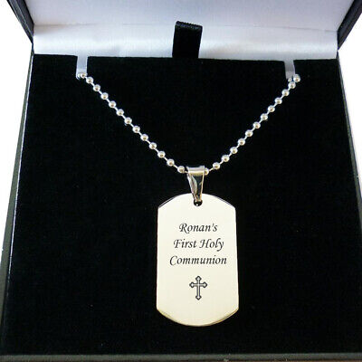 First Holy Communion Gift For Boy, Son, Engraved Dog Tag With Cross, Date, Name • 16.99£