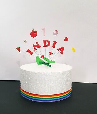 The Very Hungry Caterpillar Birthday Personalised Name And Age Cake Topper • 11.50£