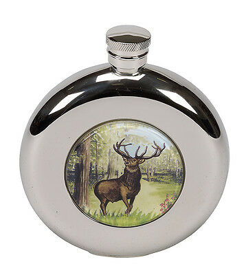 £19.99 • Buy Stag Buck Shooting Scene Round Hip Flask FREE ENGRAVING CLEARANCE