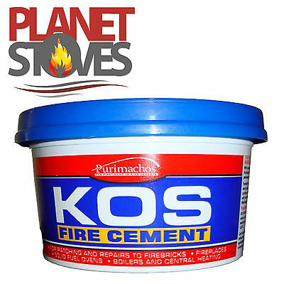 Kos Black Fire Cement 2kg For Flue Pipe Seals - Ready Mix Furnace Cement • 9£