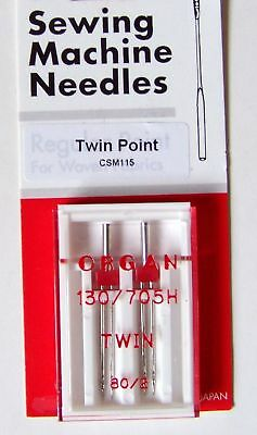 Organ Twin Point Sewing Machine Needles 130/705h  80/2 • 3.20£