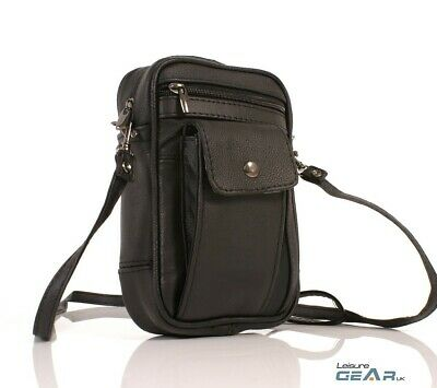 Mens Womens Small Leather Manbag Phone Pouch Crossbody Shoulder Bag Black • 11.99£