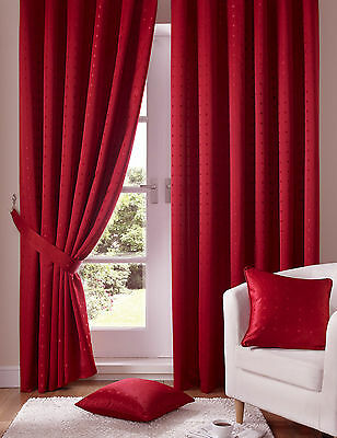 Red Pencil Pleat Tape Top Curtains & Tie Backs Madison (Free P&p) • 40£