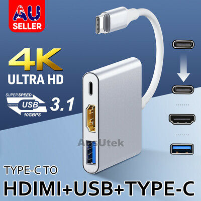 AU26.95 • Buy 3IN1 USB 3.1 Type-C USB-C To Female HUB 4K HD HDMI Data Charging Cable Adapter