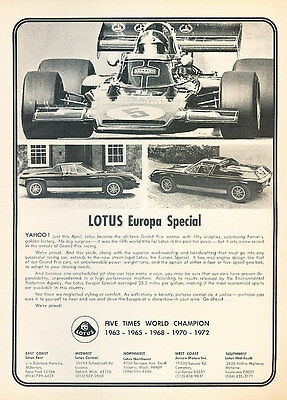 $ CDN7.26 • Buy 1974 Lotus Europa Special Bw -  Classic Vintage Advertisement Ad A63-B