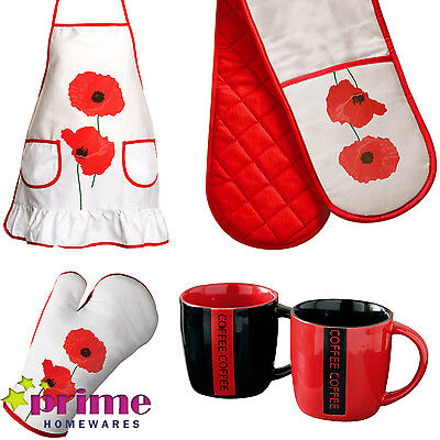 £5.99 • Buy Poppy Oven Glove Apron Red Dish Drainer Mugs Jars Kitchen Accessories Gift Xmas