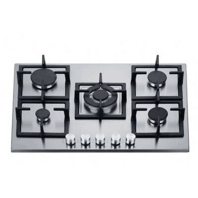 AU539 • Buy 70cm Gas Cooktop 5 Burners Built In Stainless Steel For Kitchen