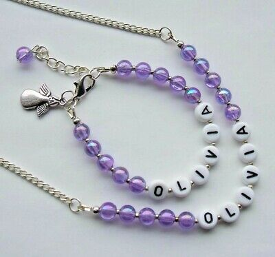 Personalised Acrylic Bead Necklace & Bracelet Any Name & Colour-19 Colours • 6.50£