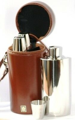 £99.99 • Buy Three Hip Flasks & Cups Brown Spanish Leather Caddy Shooting Decanter Flask Set
