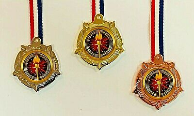 £3.99 • Buy Athletics/Olympic Gold/Silver/Bronze Metal Medals 1 Set With FREE Ribbons